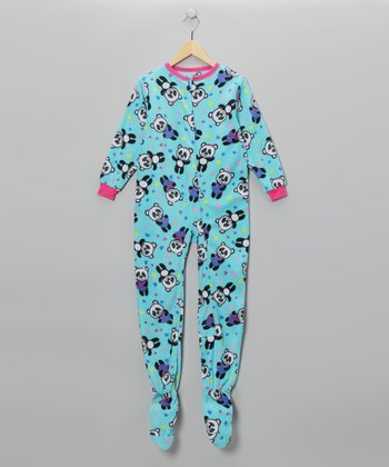 Aqua Panda Heart Footie - Girls