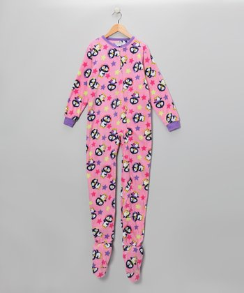 Pink Penguin Star Footie - Girls
