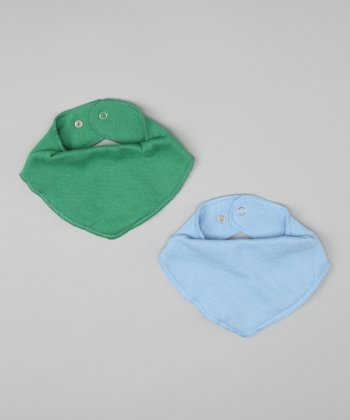 Baby Blue & Forest Green Bandanna Bib Set