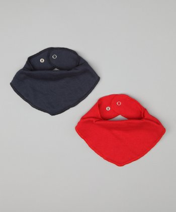 Navy Blue & Hero Red Bandanna Bib Set
