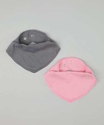 Steel Gray & Sweet Pink Bandanna Bib Set