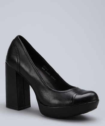 Black Blaire Leather Platform Pump