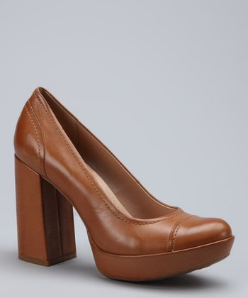 Tan Blaire Leather Platform Pump