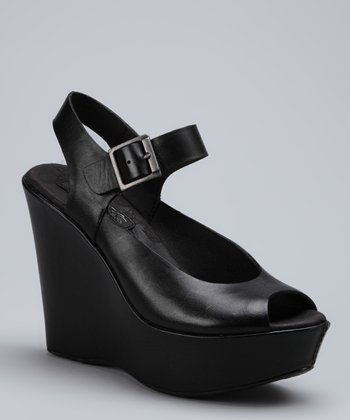 Black Anya Leather Wedge