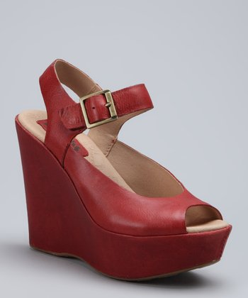 Hot Red Anya Leather Wedge