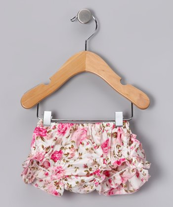 Pink Floral Satin Diaper Cover - Infant