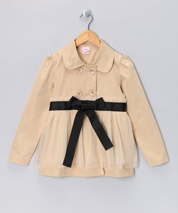 Kosse Designs Khaki Double Breasted Tulle Jacket - Toddler & Girls