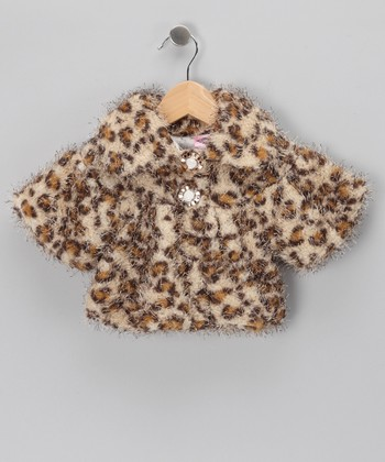 Kosse Designs Brown Cheetah Faux Fur Jacket - Infant, Toddler & Girls
