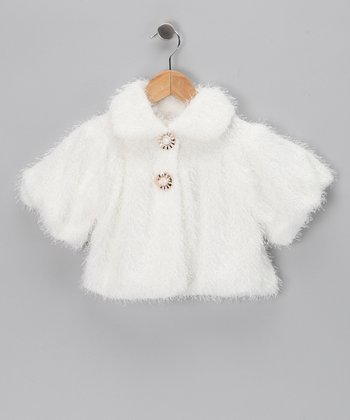 Kosse Designs White Faux Fur Jacket - Toddler & Girls
