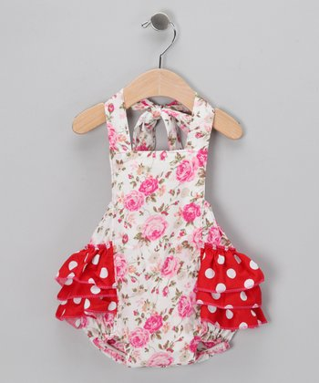 Pink Floral Ruffle Sunsuit - Infant