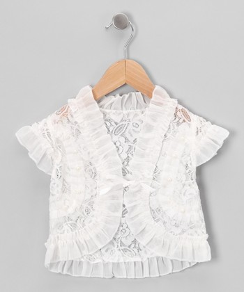 White Lace Ruffle Shrug - Toddler & Girls