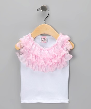 White & Pink Ruffle Tank - Infant