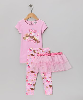 Pink 'Happy Birthday' Cupcake Tutu Set - Infant, Toddler & Girls