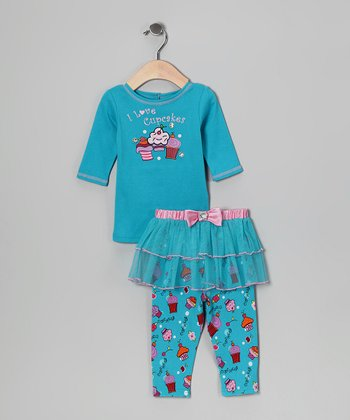 Aqua 'I Love Cupcakes' Top & Skirted Leggings - Infant & Toddler