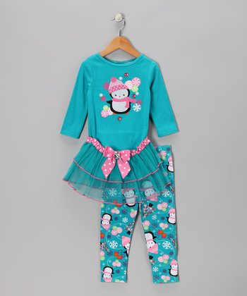 Blue Penguin Tutu Tunic & Leggings - Infant & Toddler