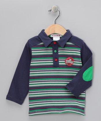 Blue & Green Stripe Polo - Infant & Toddler