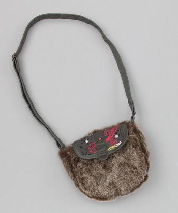 Gray Faux Fur Purse