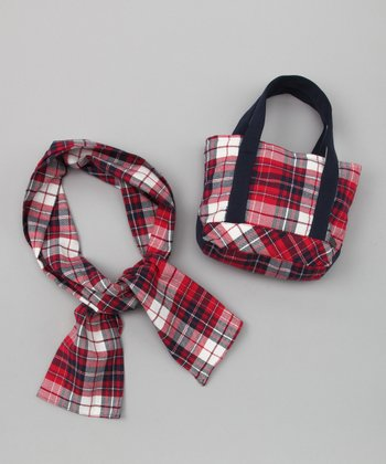 Red Plaid Handbag & Scarf