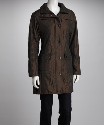 Kristen Blake Bronze Quilted Raincoat - Women