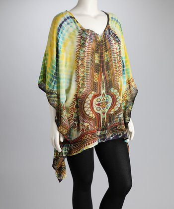 Kushi Yellow Tie-Dye Plus-Size Top