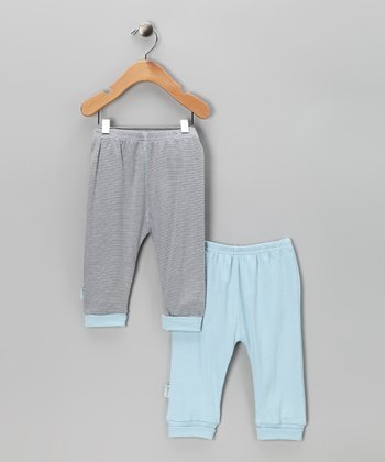 Blue & Stripe Everyday Pants Set - Infant