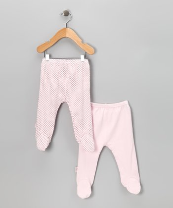 Pink & Polka Dot Everyday Footie Pants Set
