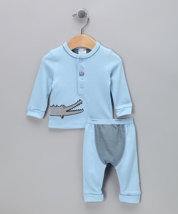 Blue Alligator Let's Play Henley & Pants