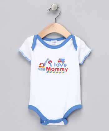 White & Blue 'I Love Mommy' Bodysuit