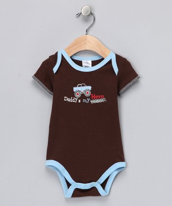 Brown & Blue 'Daddy's My Hero' Bodysuit