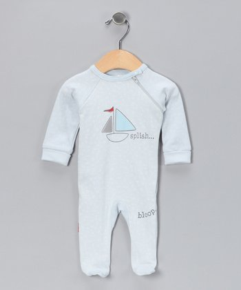 Blue Sailboat Organic Footie