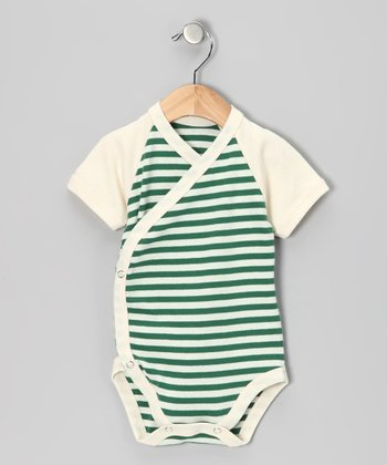 LAPSAKY Frog Green Stripe Organic Wrap Bodysuit - Infant
