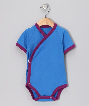 Royal Blue & Berry Organic Wrap Bodysuit - Infant
