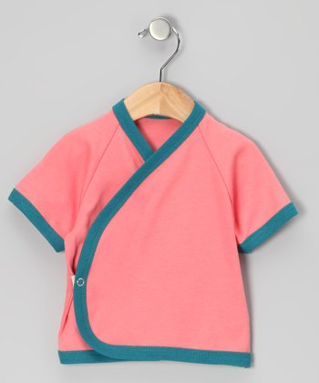 Coral & Peacock Blue Organic Wrap Top - Infant