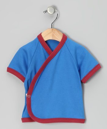Royal Blue & Red Organic Wrap Top