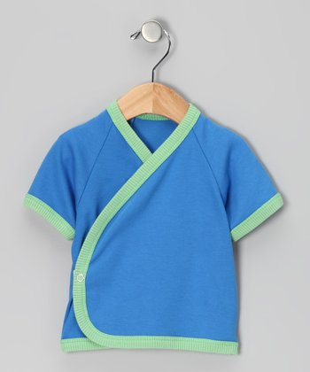 Royal Blue & Green Organic Wrap Top