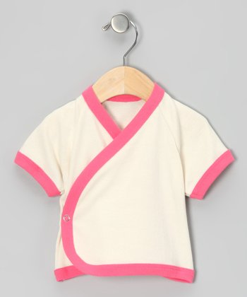 Natural & Hot Pink Organic Wrap Top - Infant
