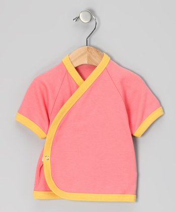 Coral & Yellow Organic Wrap Top - Infant