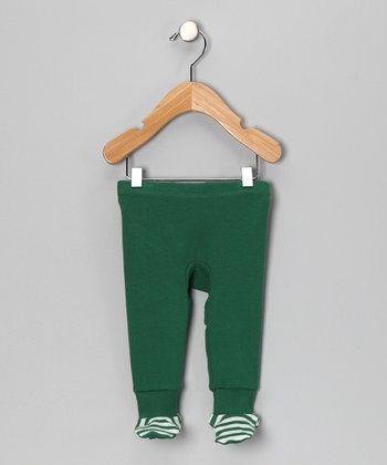 Frog Green Stripe Organic Footie Pants - Infant