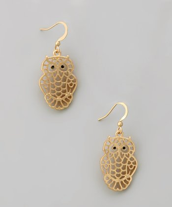 Gold Cutout Owl Earrings