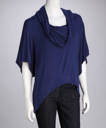 Navy Cowl Neck Sidetail Top
