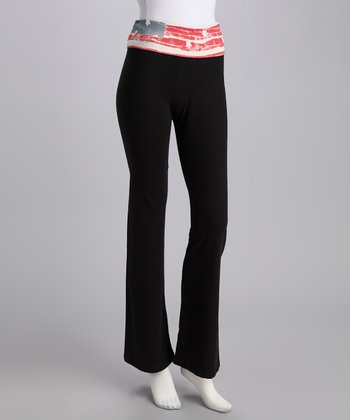 Black Flag Waistband Yoga Pants