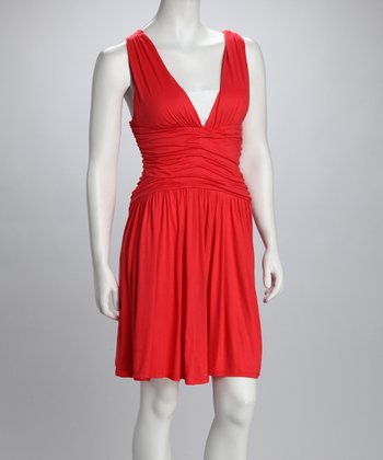 Coral Shirred Crisscross V-Neck Dress