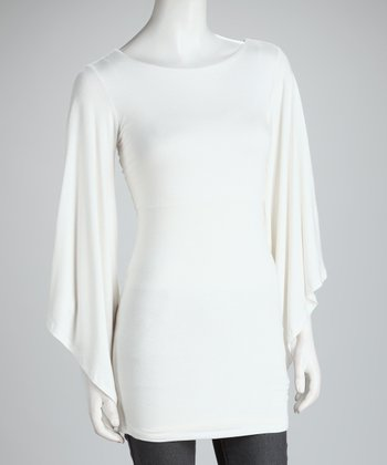 White Drape Sleeve Top