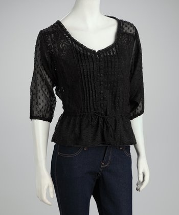 Black Sheer Lace Peplum Top