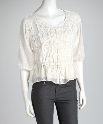 Ivory Sheer Lace Peplum Top