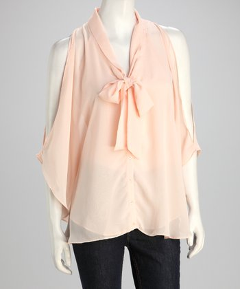 Peach Tie-Front Cutout Top