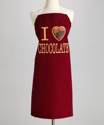 Maroon 'I Heart Chocolate' Apron