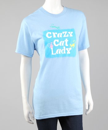 Light Blue 'Crazy Cat Lady' Tee - Women