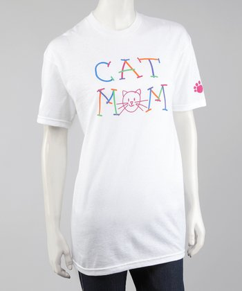 White 'Cat Mom' Tee - Women