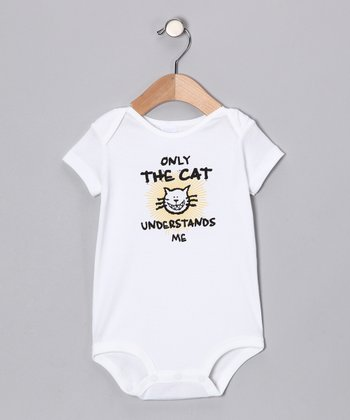 White 'Only the Cat' Bodysuit - Infant
